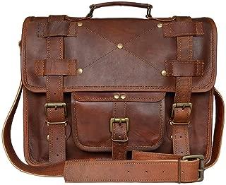 Reyansh 16 Inch Retro Goat Leather Laptop Messenger Bag Office Briefcase College Bag
