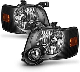 ACANII - For Black 2006-2010 Ford Explorer Headlights Headlamps Replacement Driver+Passenger Side