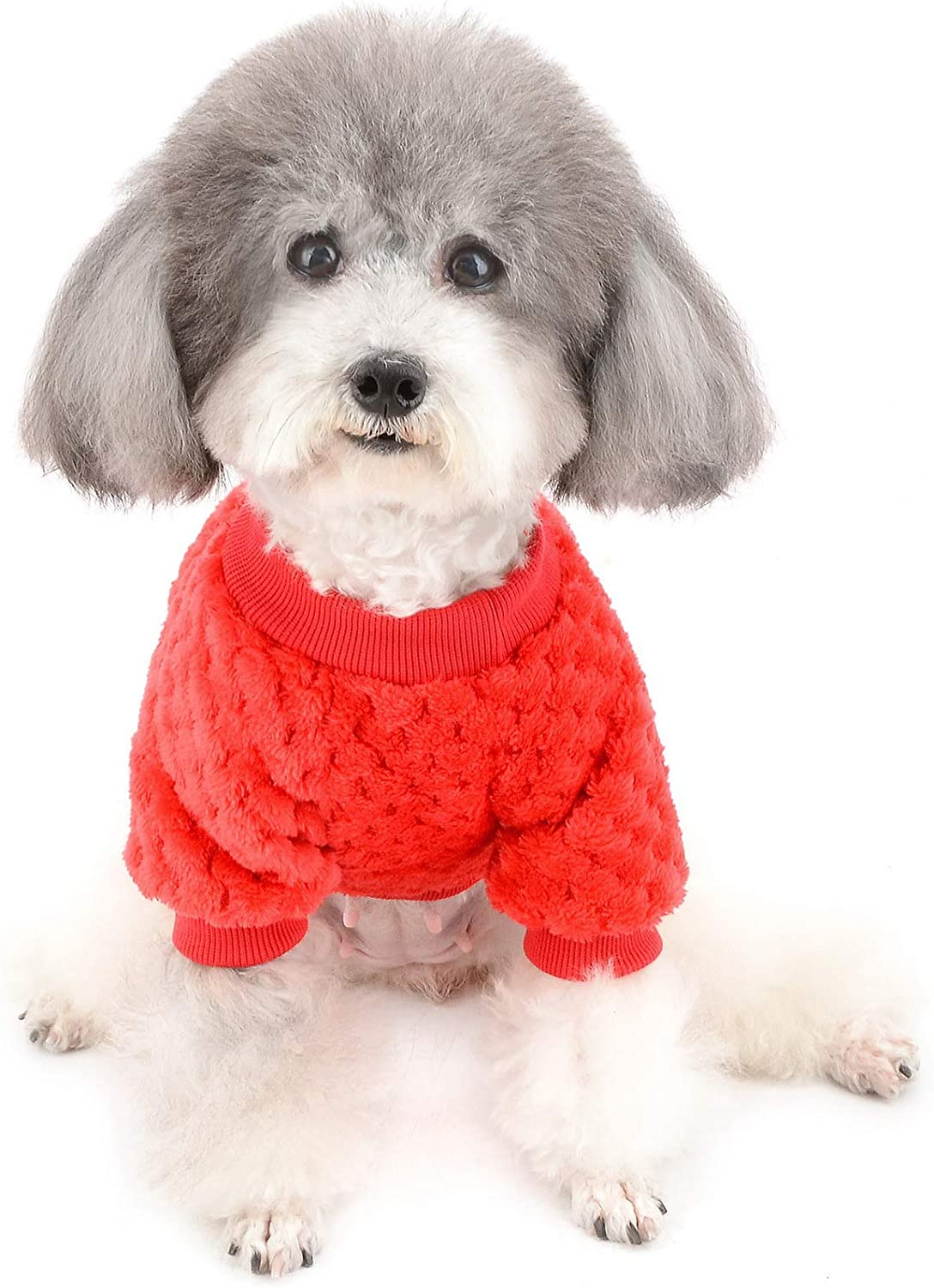 Zunea Small Dog Sweater Coat Fleece Pet Pullover for Dogs Boy Girl Winter Warm Soft Puppy Jumper Clothes Apparel Cat Outwear for Cold Weather Blue S