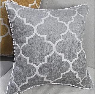 Hysenm Square 18x18 Inch Modern Patterns Chenille Jacquard Throw Pillowcase Sham Cover Cushion Cover Hotel Home Car Coffee Shop Décor, Grey 18