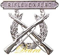 DEURA US MARINE CORPS USMC RIFLE QUALIFICATION EXPERT SHOOTING BADGE SILVER PIN
