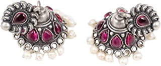925 sterling silver 1.2 inches pink stone and white pearl Jhumka earrings for women|premium 11 g weight fine silver jewelry|modern silver earring gift on anniversary, Birthday and special occasion
