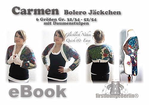 Carmen für Bolero JäckchenNähanleitung mit Schnittmuster in 6 Größen Gr. 32-54 [Download]