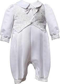 Boys Christening Outfit - 1 Piece White with Patterned Vest 0-3 mths