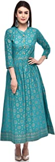 GLAM ROOTS Women's A-Line Cotton Kurta (TURQUOISE)