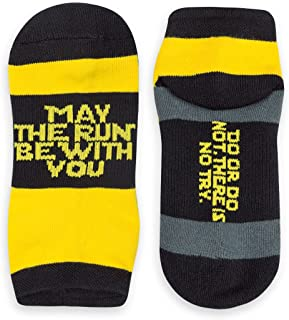 Inspirational Athletic Running Socks   Women's Woven Low Cut   May The Run Be With You   Yellow/Black