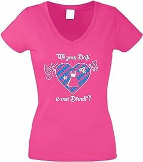shirtdepartment Damen V-NECK T-Shirt Oktoberfest Wo zum Deifi is mei Dirndl
