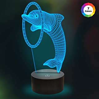3D Dolphin Night Light Table Desk Illusion LED Lamp,7 Colors Change Room Home Decor Xmas Birthday Gifts for Child Baby