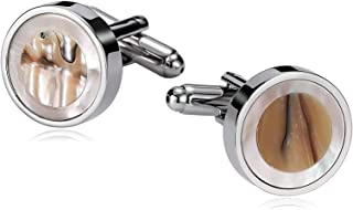 Jewelry Stainless Steel Cufflinks for Men Mother of Pearl Abalone Shell Round Silver White Men's Cuff Links