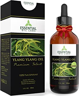 Ylang Ylang Oil - Therapeutic Grade Cananga Odorata - 1 fl. oz with Glass Dropper - Premium Select by Essential Oil Labs
