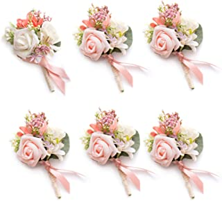 Ling's moment Set of 6 Groom Boutonniere for Wedding Party Flowers Accessories Prom Suit Decoration