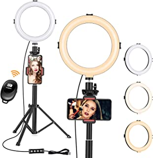 "8"" Ring Light with Tripod Stand - Dimmable Selfie Ring Light LED Camera Ringlight with Tripod and Phone Holder for Live St..."