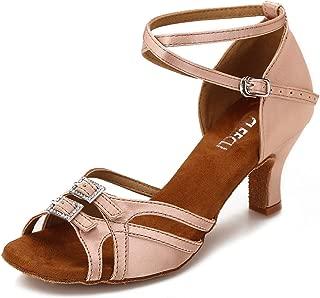 CLEECLI Ballroom Dance Shoes Women Latin Salsa Dancing Shoes Adjustable Toe Width 2.5