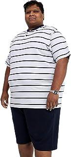 Big and Tall Size PJS Plain Pyjamas Set Plus Size Nightwear - Grey/Navy Stripe