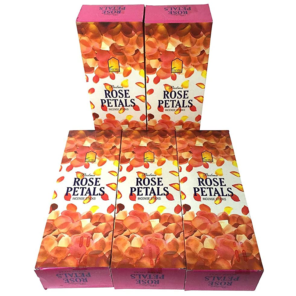 用心深い落花生アクセサリーローズペタル香スティック 5BOX(30箱)/PADMA ROSE PETALS/ インド香 / 送料無料 [並行輸入品]