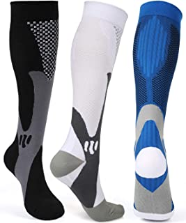 Compression Socks Men Women 20-30 mmHg Medical, Nursing, Athletic, Flight, Travel, L/XL, XXL
