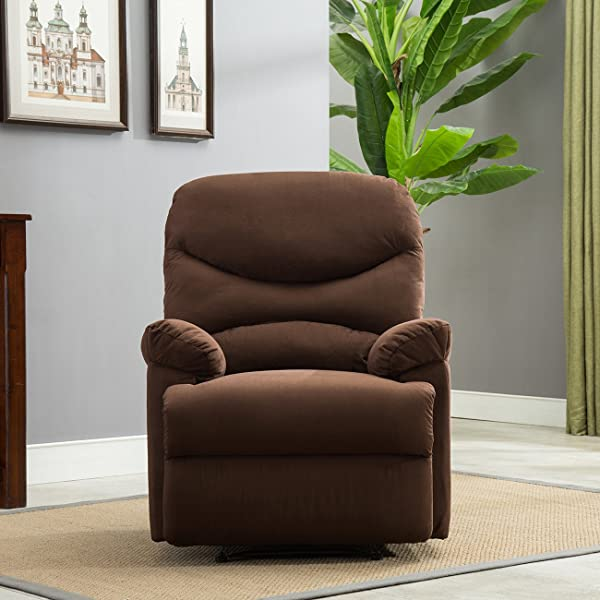 Belleze Microfiber Recliner Sofa Chair Home Office Reclining Positions Ergonomic Armrests Footrests Brown