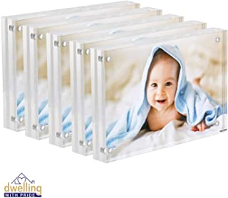 Dwelling With Pride Acrylic Picture Frame Set of 5-4x6 Inch - Acrylic Photo Frame - Collage Stand for Family Photographs - Clear Picture Frames for Office Desk & Side Table - Wedding Table Décor