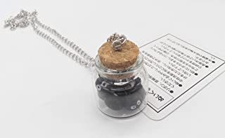 Miniature Totoro Soot Black Balls Figure in Glass Cork Jar Bottle with NECKLACE ~ADORABLE~