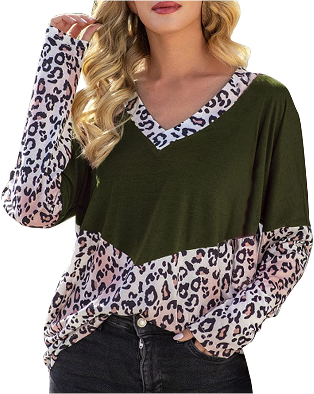 Women's Leopard Print Tops Raglan Long Sleeve V Neck Pocket Casual Basic Shirts Soft Tunics Top