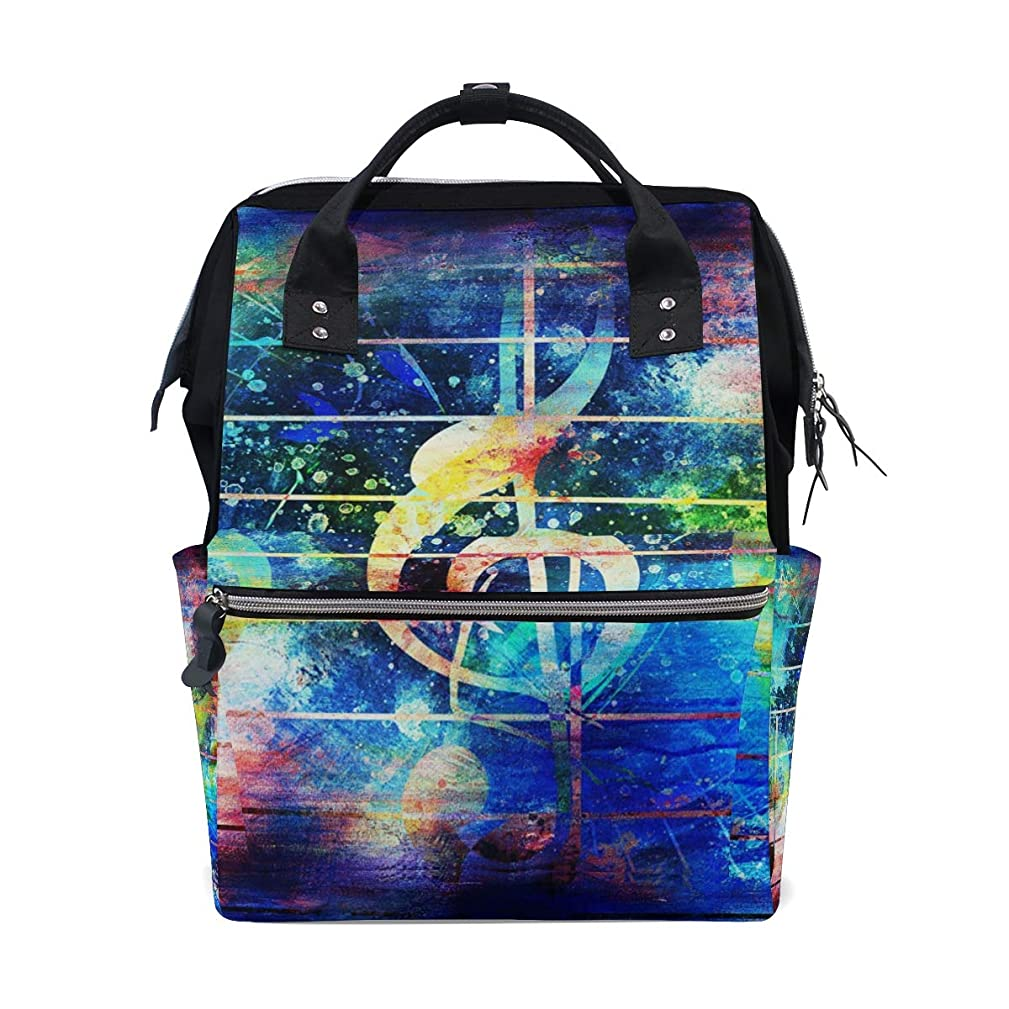 Abstract Colorful Music Notes Violin Clef School Backpack Large Capacity Mummy Bags Laptop Handbag Casual Travel Rucksack Satchel For Women Men Adult Teen Children