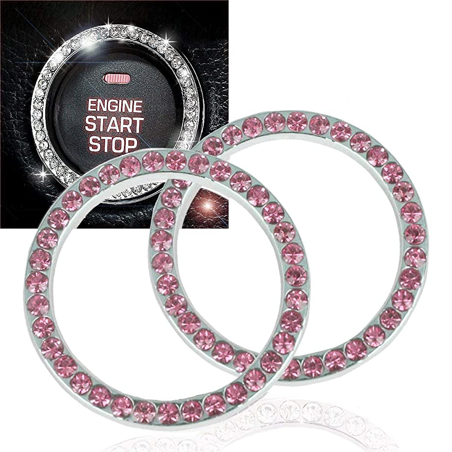 EJ's SUPER CAR Crystal Rhinestone Car Bling Ring Emblem Sticker, Crystal Rhinestone Bling Car Accessories for Auto Start Engine Ignition Button Key & Knobs, Bling for Car Interior(2 Pack)