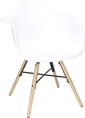 OFM 161 Collection 4 Pack Mid Century Modern Plastic Molded Accent Chairs with Arms, Dining Chairs, Beechwood Legs with Wire Accent, in White