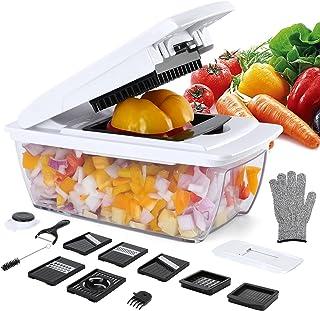 Uvistare Mandoline Cuisine Multifonction, Couper Les Legumes, Séparereur d'Oeufs,7 Lames Couteau en Acier Inoxydable, Nett...