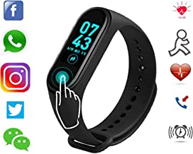 Smart Band SM4 Fitness Tracker Watch Heart Rate with Activity Tracker Waterproof Body Functions Like Steps Counter, Calorie Counter, Blood Pressure, Heart Rate Monitor LED Touchscreen (Black)