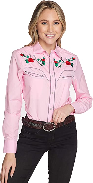 Vintage Western Wear Clothing, Outfit Ideas RCCO RODEO CLOTHING COMPANY Womens Embroidered Western Inspired Long Sleeves Button Down Dress Shirt  AT vintagedancer.com