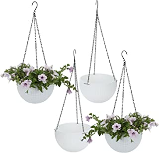 T4U Plastic Hanging Planter White Pack of 4, Self Watering Basket Round Flower Plant Orchid Herb Holder Container for Home Office Garden Porch Balcony Wall Indoor Outdoor Decoration Gift (Renewed)