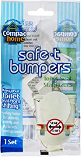 Compac's Toilet Seat Stabilizers Safe T Bumpers, Lock Seat Safely in Place, Keeps Children, Elderly, Disabled Safe From Slipping Off Shaking, Moving or Wobbly Toilet Seat (1 Set)