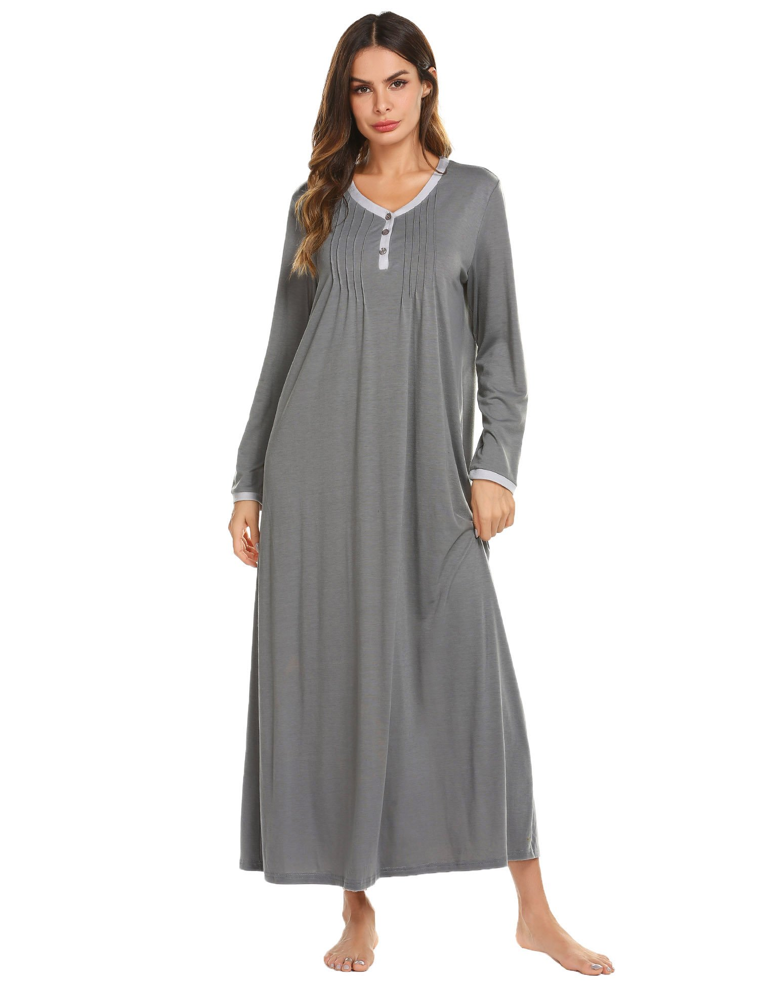 Ekouaer Womens Nightshirt Long Sleeve Nightgown Casual Sleepwear Full Length Sleep Dress