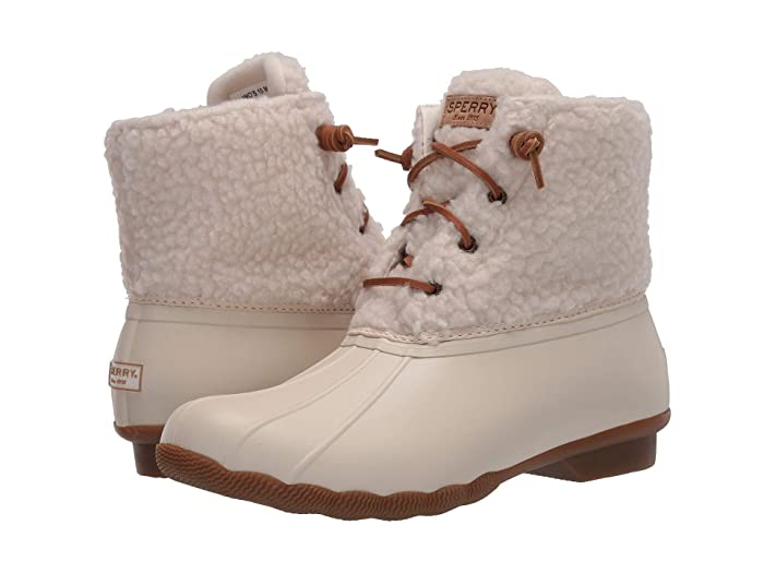 Vintage Boots- Winter Rain and Snow Boots History Sperry Saltwater Cozy Off-White Womens Shoes $74.90 AT vintagedancer.com