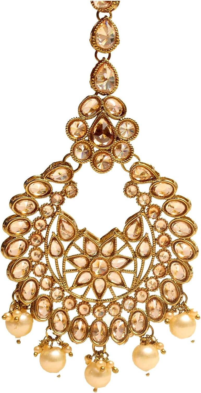 Glamorous Collection Antique Gold Crystal Bridal Headpiece Forhead Tikka Tika Wedding Jewelry