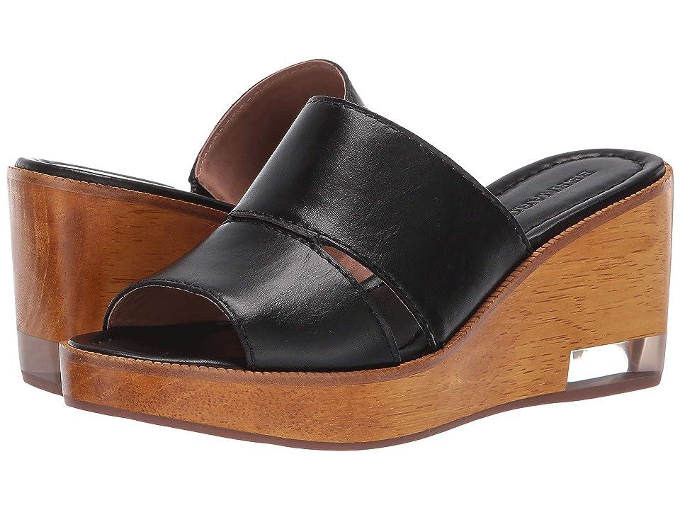 Image of Bernardo Kara Wedge Sandal (Black Antique Calf) Women's Wedge Shoes