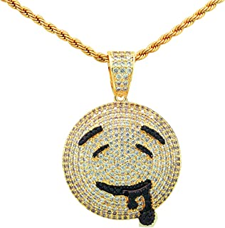 Yellow Gold-Tone Iced Out Hip Hop Bling Micropave Lab Drooling Face Emoji Pendant with 24
