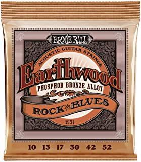 Ernie Ball P02151 Earthwood Rock and Blues with Plain G Phosphor Bronze Acoustic Guitar String, 10-52 Gauge