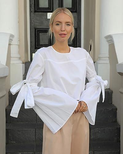The Drop Women's White Boxy Crew Neck Flared Tie Sleeve Crop Top by @leoniehanne
