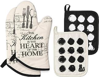 EKKONG - Guantes para horno, guantes para horno, resistentes al calor y guantes para horno, juego de manoplas para cocinar, hornear y asar (1 par y 2 manoplas para cocinar)