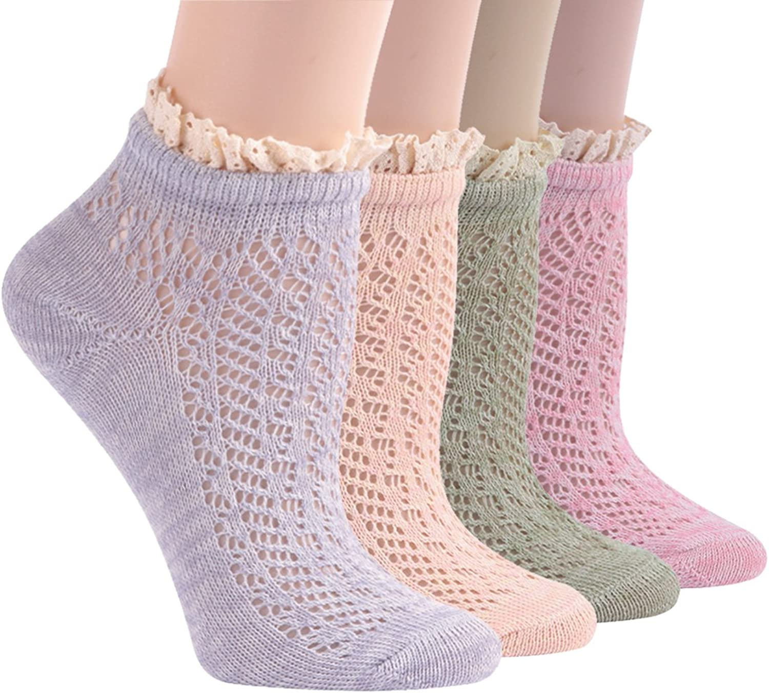 Ankle Socks for Summer, Socks Daze Women's Lace Ruffle Frilly Cool Cotton Casual Novelty Ankle Socks 4 5 Pairs