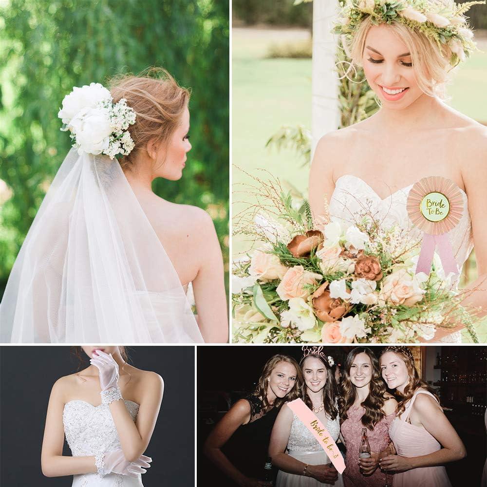 7pz Bride To Be Velo Sposa Fascia Rosa Coroncina Rosa Guanti Spilla con 2 Foglie Tatuaggi Temporanei Accessori per Addio al Nubilato