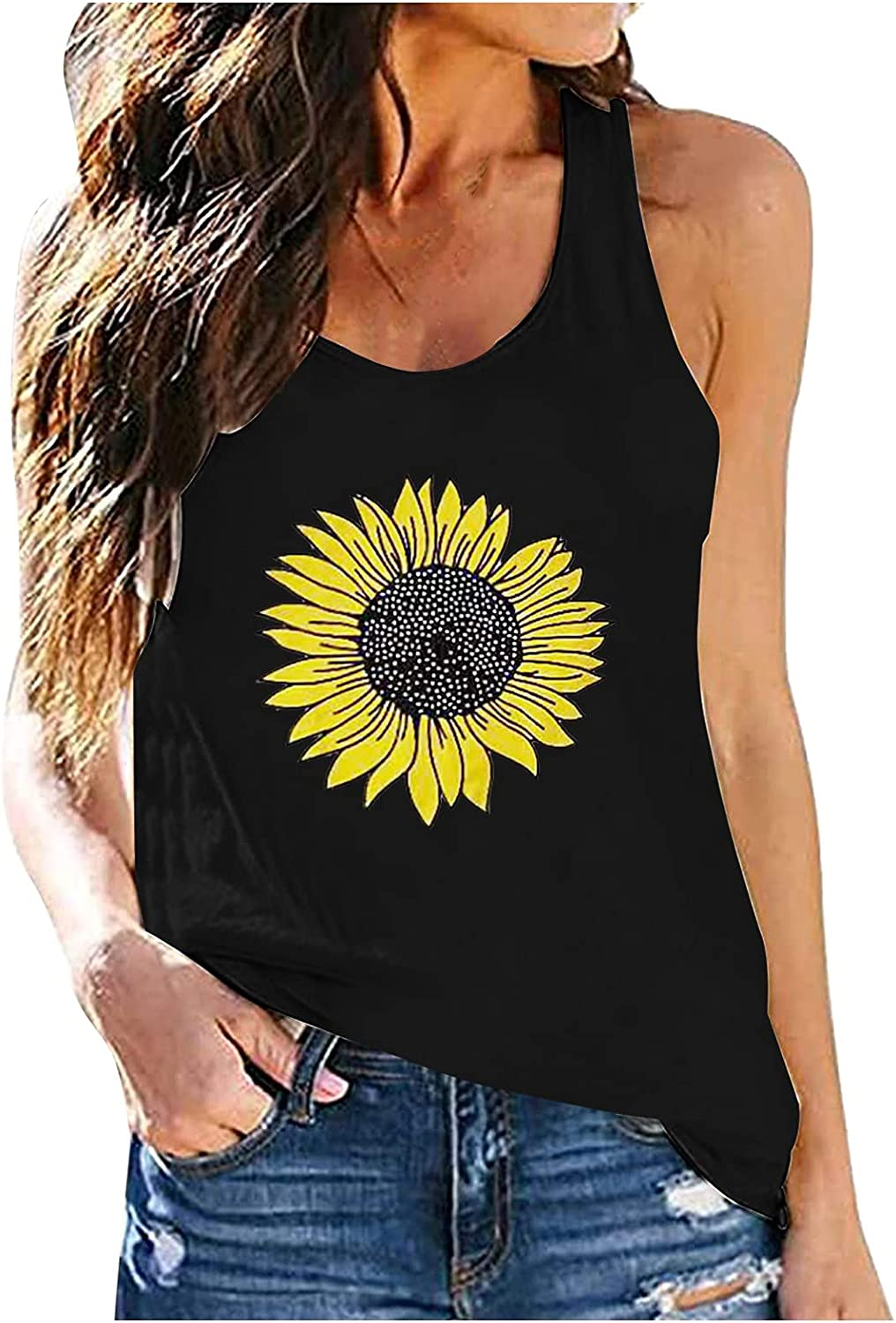 JPLZi Women Tank Top, Funny Sunflower Printed Graphic Vest Top Casual Tee Summer O-Neck T Shirt Tank Loose Fit Sleeveless