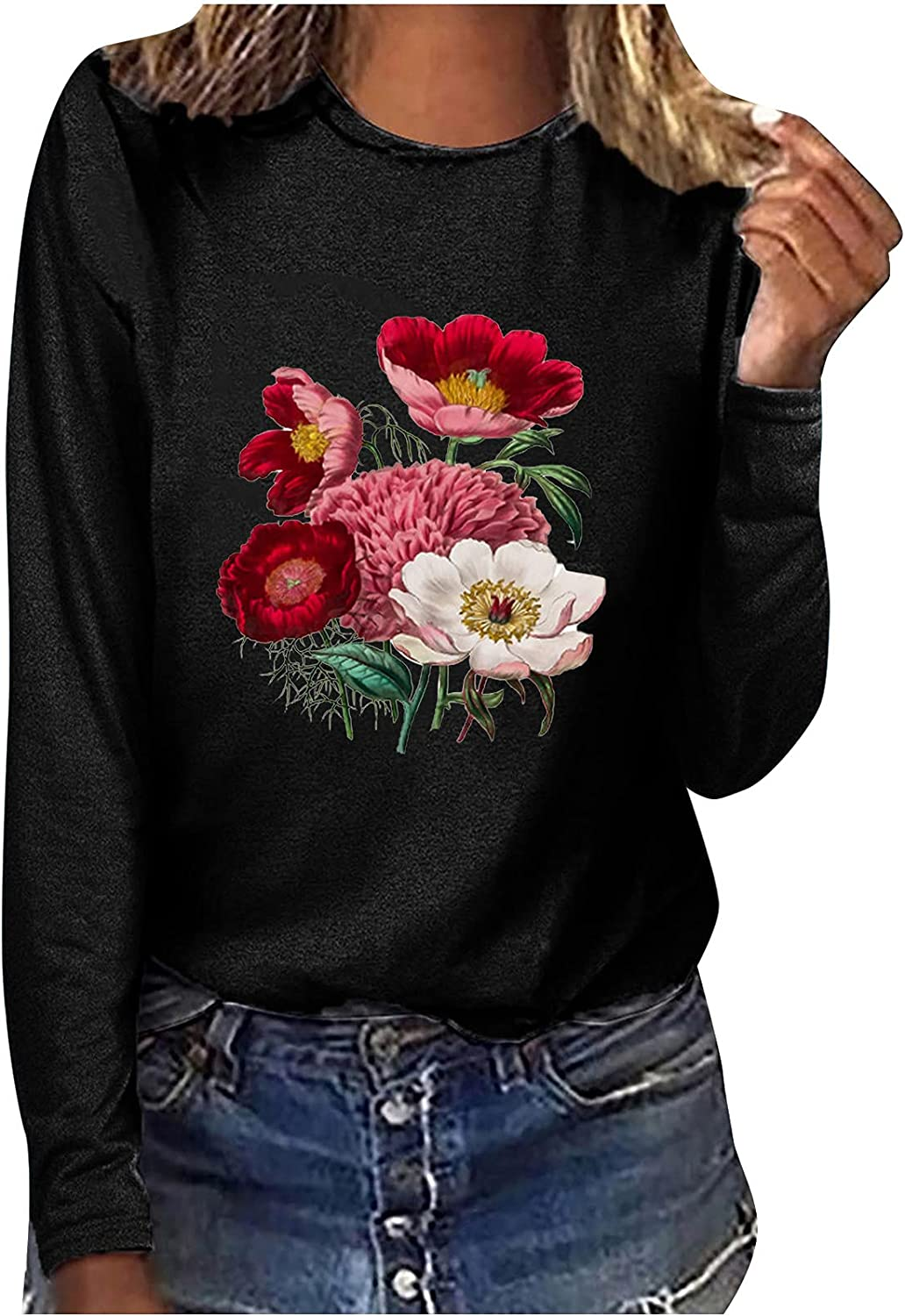 Women Long Sleeve Shirt Breast Cancer Gift Trendy Graphic Top Casual Crewneck Sweatshirt Loose Fit Blouse Workout Tee