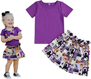 YOUNGER TREE Toddler Baby Girl Skirts Sets Halloween T-Shirts Top + Cartoon Floral Print Dress Sundress Summer Outfits Clothes 0-3T 2PCS
