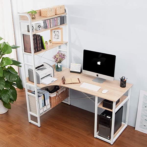 Rhomtree Computer Desk With 4 Tier Storage Shelves Large L Shaped Home Office Desk PC Laptop Writing Table Workstation With Hutch Bookshelf Oak