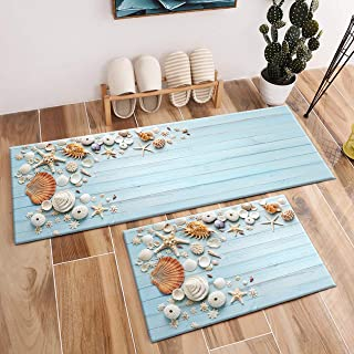 LB 2pc Conch Shell Tropical Beach Area Rug Scallop Starfish on Wood Board Rugs for Home Kitchen Bedroom Indoor Floor Mat Kid's Living Room Bathroom Non Slip Soft Yoga Carpet (1'4