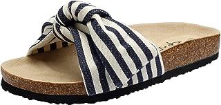 Slide Sandals for Women/Cork Sole/Canvas Knot Bow/Womens Slides/Sandals for Women