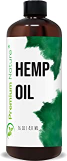 Organic Hemp Seed Carrier Oil - Pure, Unrefined, Natural Massage Oil Cold Pressed Aromatherapy 16 oz