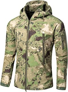 Camo Jacket Men's Army Military Style Tactical Soft Shell Warm Fleece Waterproof Coat Camo Shark Skin Outdoor
